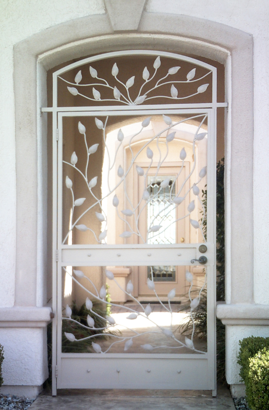 Nature Inspired Crescente Entryway Door - Item EW0253 Wrought Iron Design In Las Vegas