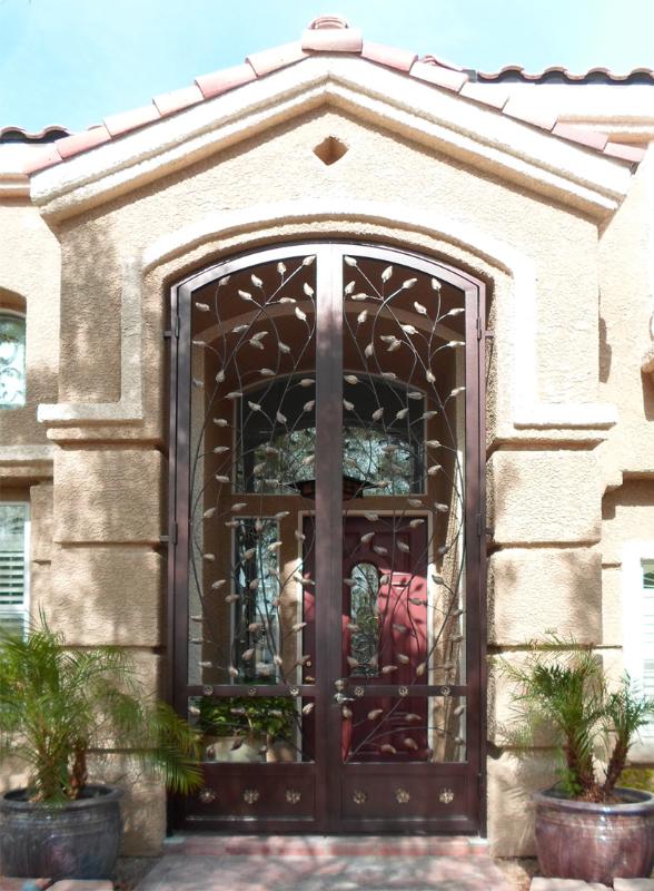 Nature Inspired Crescente Entryway Door - Item EW0258 Wrought Iron Design In Las Vegas