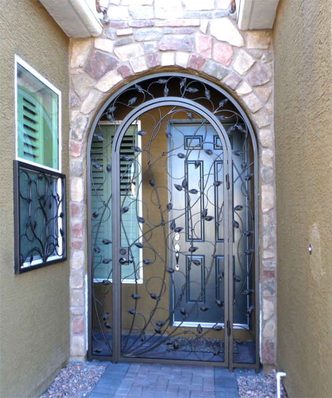 Nature Inspired Crescente Entryway Door - Item EW0371 Wrought Iron Design In Las Vegas