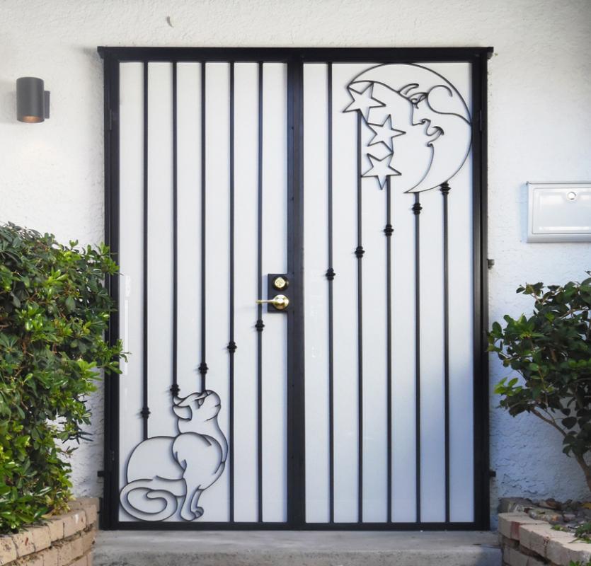 Nature Inspired Custom Archive Double Security Door - Item FD0155 Wrought Iron Design In Las Vegas
