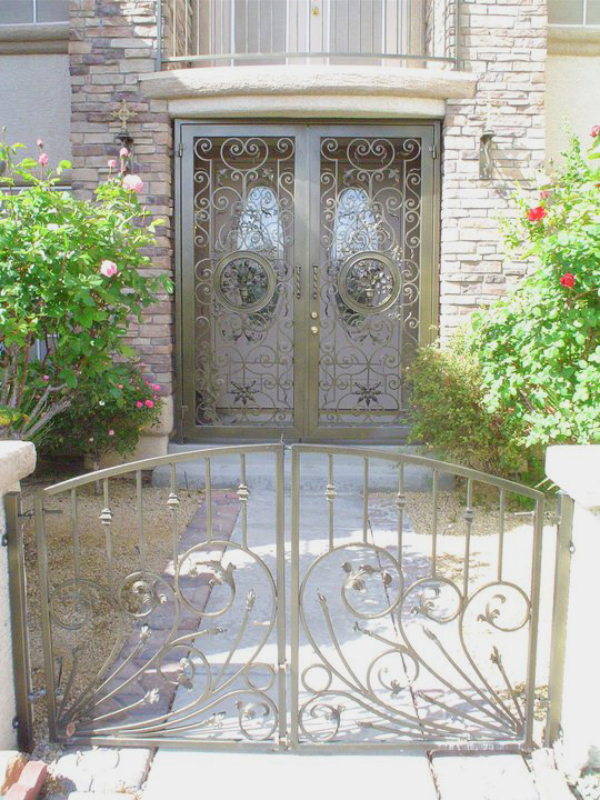 Nature Inspired Custom Archive Entryway Door - Item EW0320 Wrought Iron Design In Las Vegas