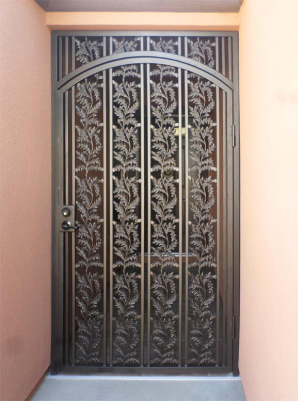 Nature Inspired Debussy Entryway Door - Item EW0060A Wrought Iron Design In Las Vegas