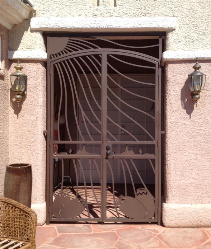 Nature Inspired Desert Vista Entryway Door - Item EW0392 Wrought Iron Design In Las Vegas