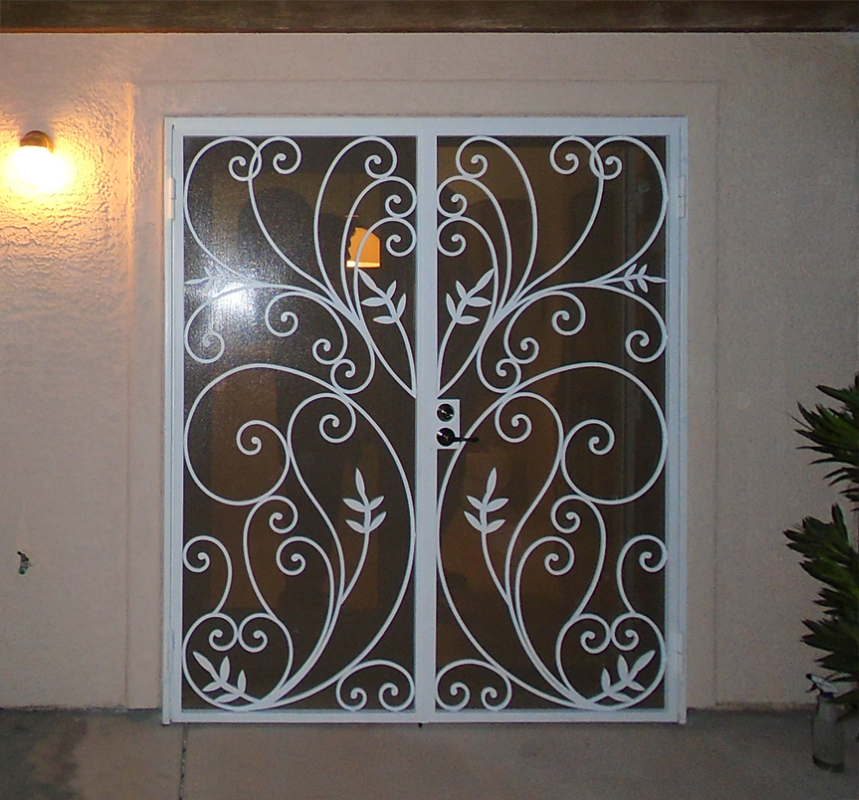 Nature Inspired Double Security Door - Item Bellezza FD0145 Wrought Iron Design In Las Vegas