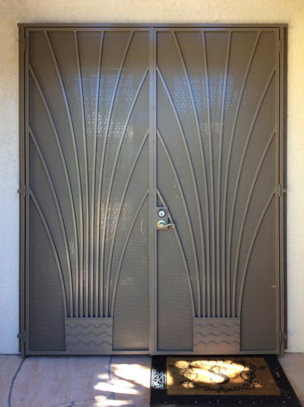 Nature Inspired Double Security Door - Item Bloom FD0109 Wrought Iron Design In Las Vegas
