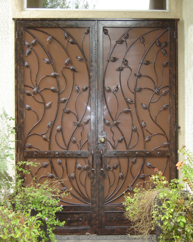 Nature Inspired Double Security Door - Item Crescente FD0016 Wrought Iron Design In Las Vegas