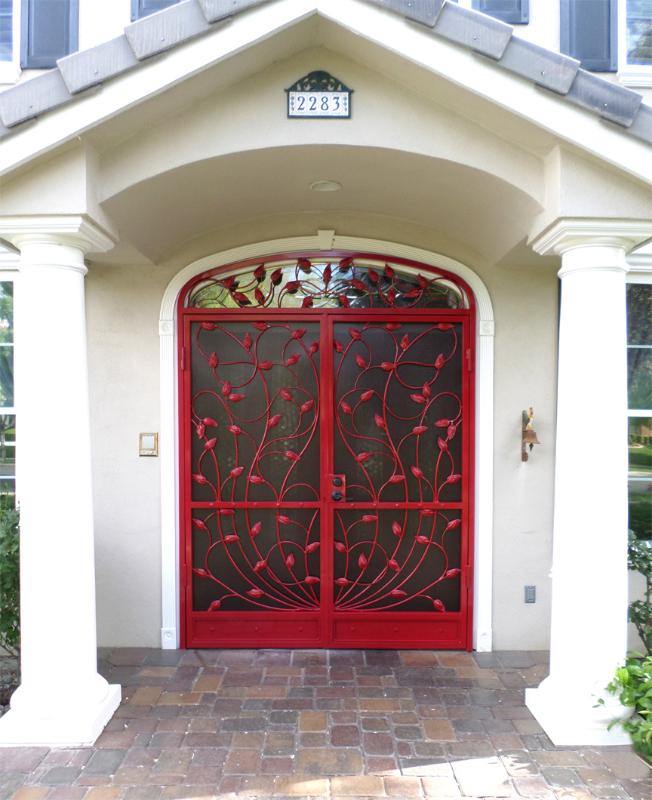 Nature Inspired Double Security Door - Item Crescente FD0016A Wrought Iron Design In Las Vegas