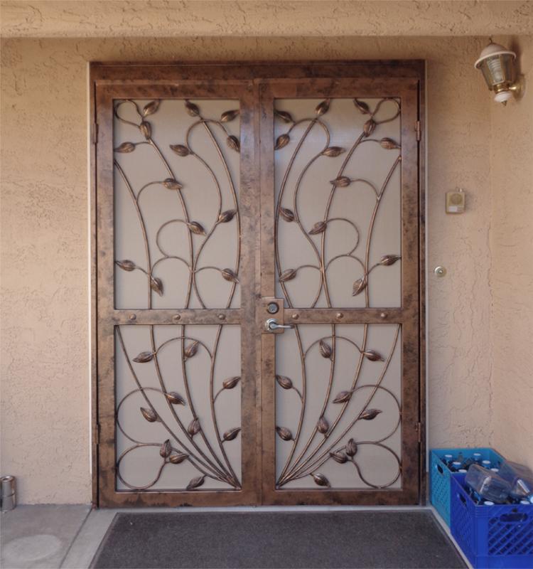 Nature Inspired Double Security Door - Item Crescente FD0016B Wrought Iron Design In Las Vegas