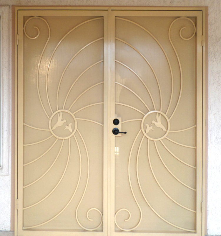 Nature Inspired Double Security Door - Item Hummingbird FD0051B Wrought Iron Design In Las Vegas
