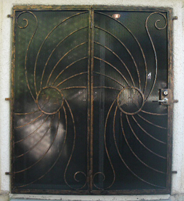 Nature Inspired Double Security Door - Item Hummingbird FD0051C Wrought Iron Design In Las Vegas