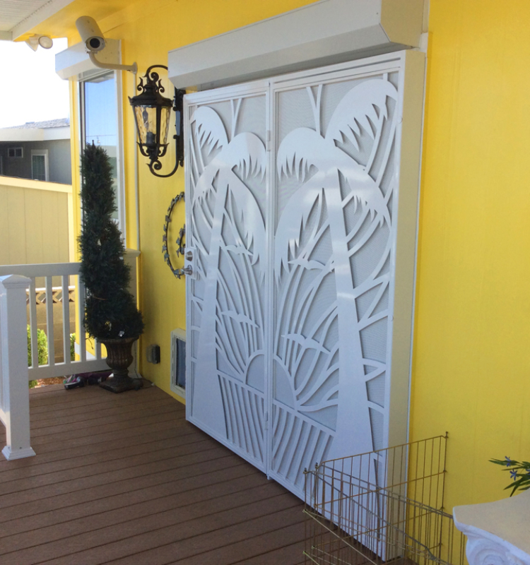Nature Inspired Double Security Door - Item Sandy Beaches FD0108 Wrought Iron Design In Las Vegas