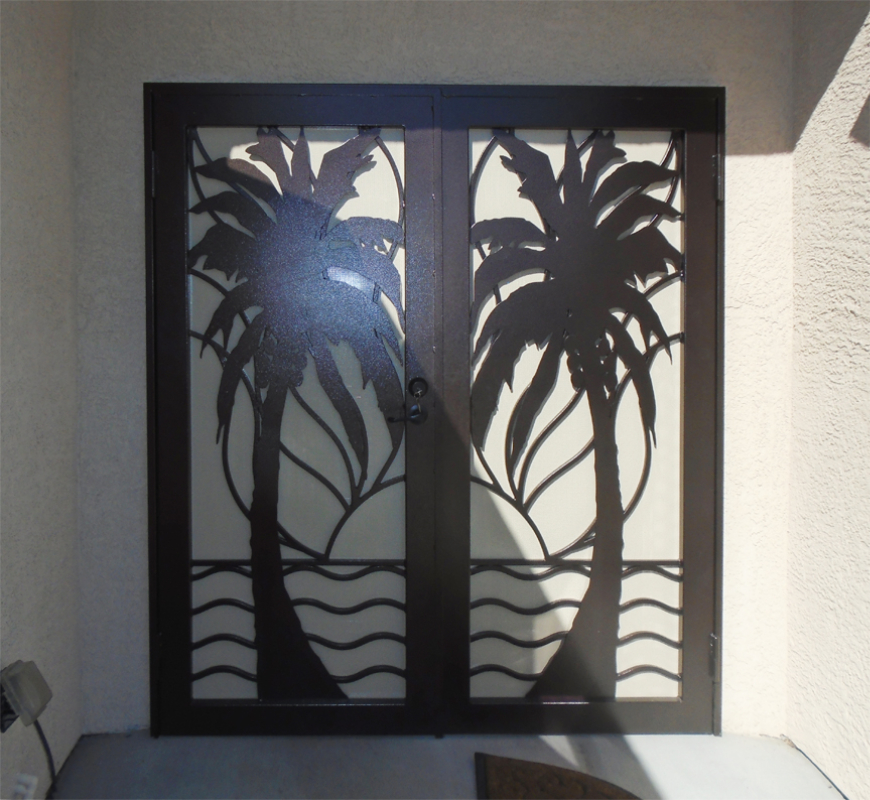 Nature Inspired Double Security Door - Item Sandy Beaches FD0108A Wrought Iron Design In Las Vegas
