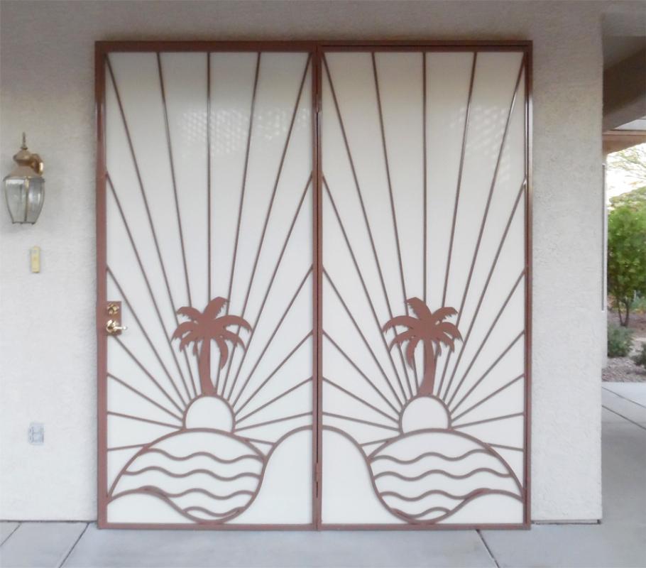Nature Inspired Double Security Door - Item Sandy Beaches FD0136 Wrought Iron Design In Las Vegas