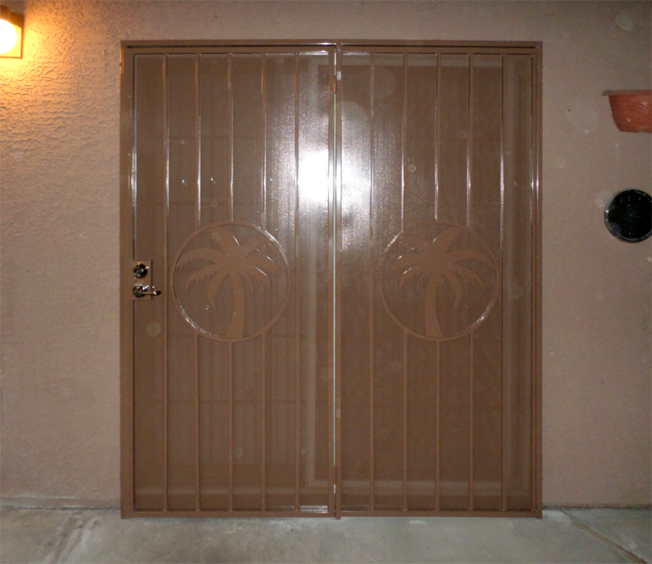 Nature Inspired Double Security Door - Item The Palms FD0011 Wrought Iron Design In Las Vegas