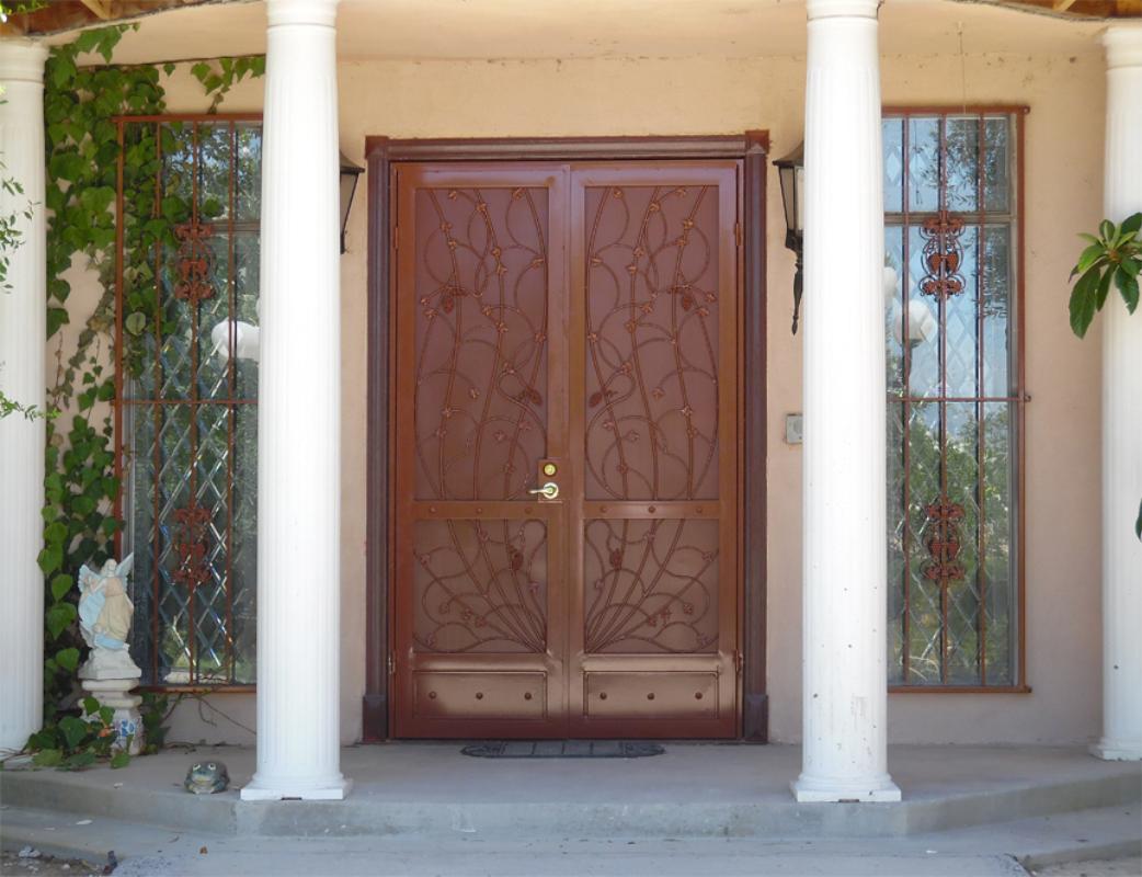 Nature Inspired Double Security Door - Item Vitigni FD0016C Wrought Iron Design In Las Vegas