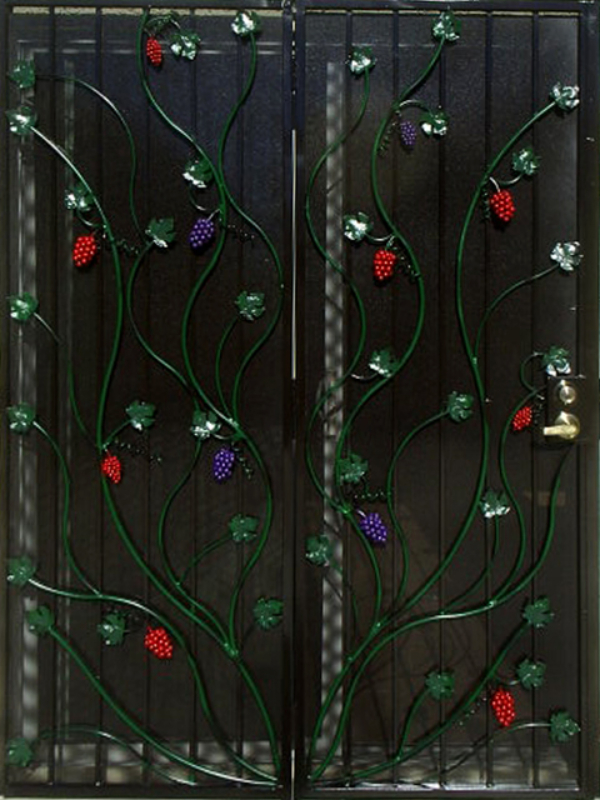 Nature Inspired Double Security Door - Item Vitigni FD0035 Wrought Iron Design In Las Vegas