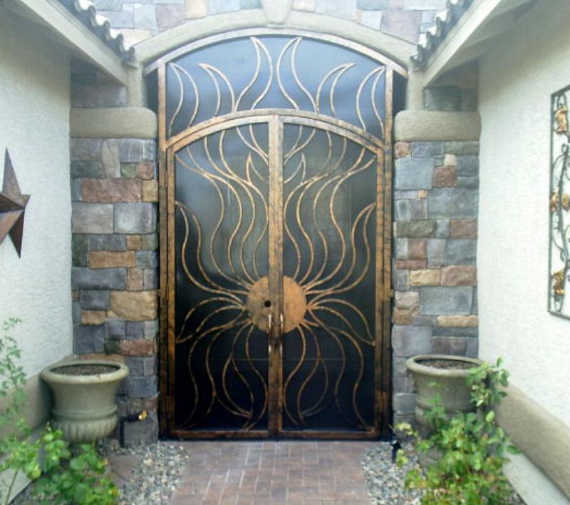 Nature Inspired Flame Entryway Door - Item EW0073 Wrought Iron Design In Las Vegas