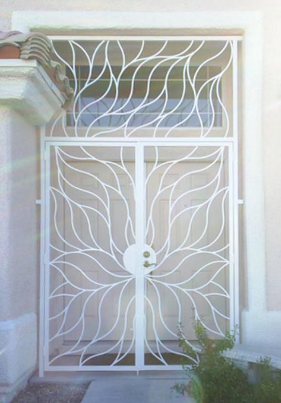 Nature Inspired Flame Entryway Door - Item EW0073A Wrought Iron Design In Las Vegas
