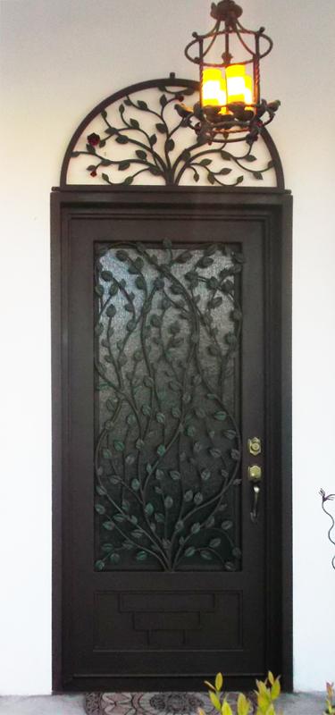 Nature Inspired Front Door - Item Crescente GE0076 Wrought Iron Design In Las Vegas