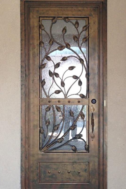 Nature Inspired Front Door - Item Crescente GE0175 Wrought Iron Design In Las Vegas