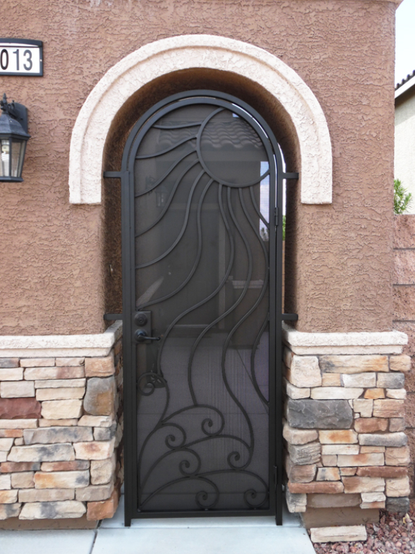 Nature Inspired Gaia Entryway Door - Item EW0393A Wrought Iron Design In Las Vegas