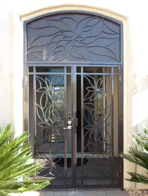 Nature Inspired Lotus Entryway Door - Item EW0321 Wrought Iron Design In Las Vegas
