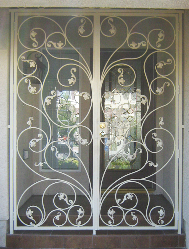 Nature Inspired Portini Entryway Door - Item EW0037A Wrought Iron Design In Las Vegas
