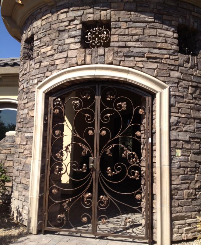 Nature Inspired Ricci Entryway Door - Item EW0291 Wrought Iron Design In Las Vegas