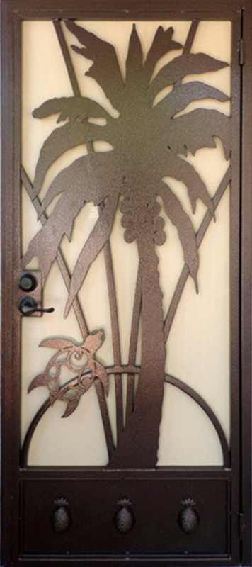 Nature Inspired Security Door - Item Aloha SD0197A Wrought Iron Design In Las Vegas