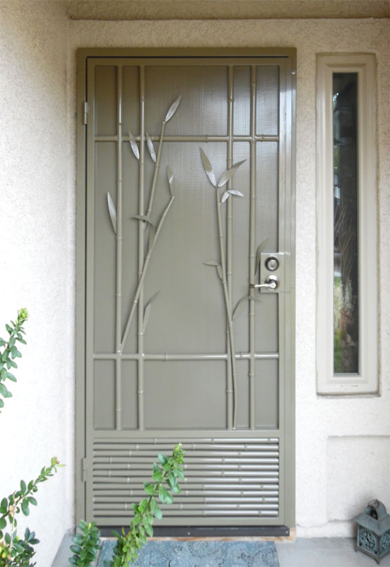 Nature Inspired Security Door - Item Bali SD0223 Wrought Iron Design In Las Vegas