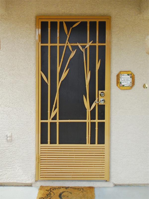 Nature Inspired Security Door - Item Bali SD0223_Yellow Wrought Iron Design In Las Vegas