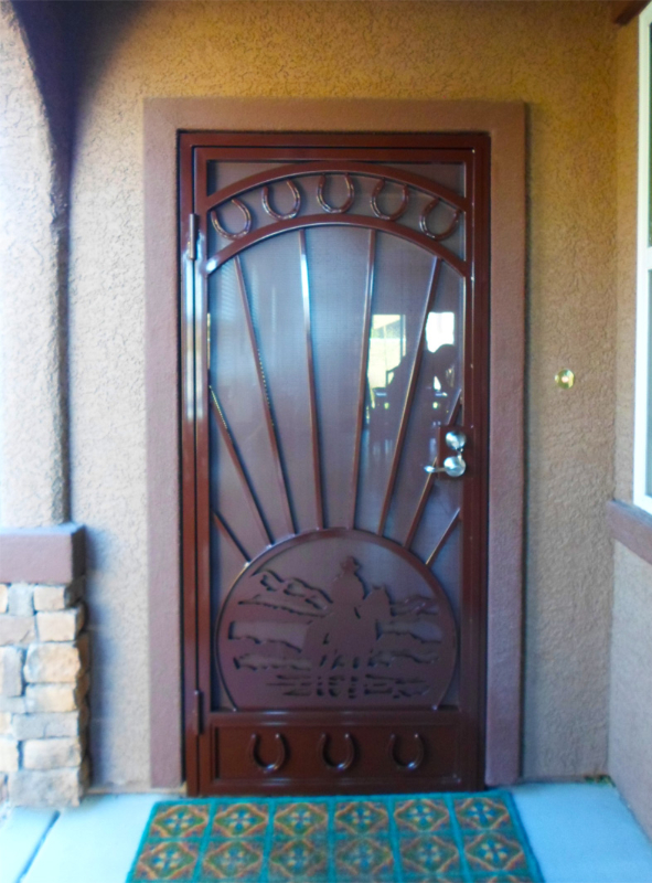 Nature Inspired Security Door - Item Cheyenne SD0156 Wrought Iron Design In Las Vegas