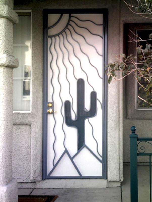 Nature Inspired Security Door - Item Desert Vista SD0010 Wrought Iron Design In Las Vegas