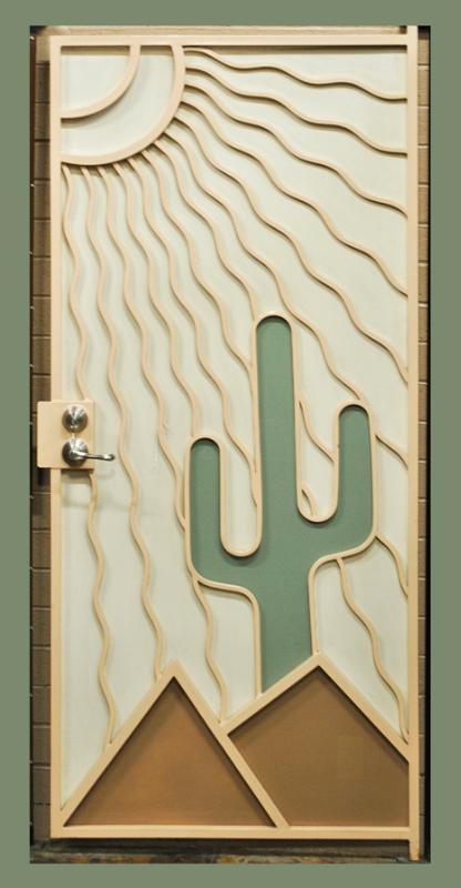 Nature Inspired Security Door - Item Desert Vista SD0010A Wrought Iron Design In Las Vegas
