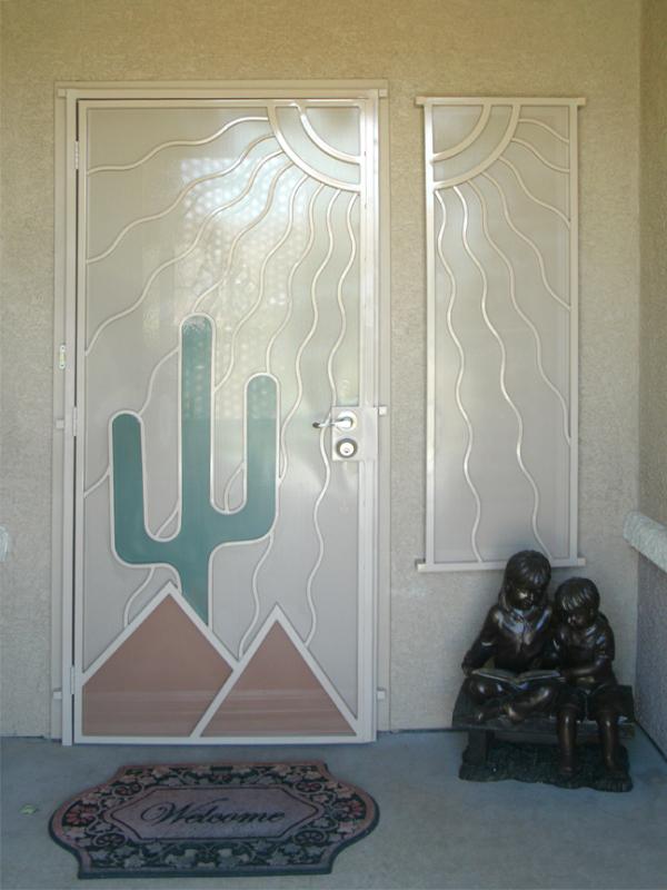 Nature Inspired Security Door - Item Desert Vista SD0010C_White-Green Wrought Iron Design In Las Vegas