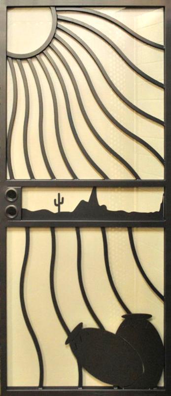 Nature Inspired Security Door - Item Desert Vista SD0221 Wrought Iron Design In Las Vegas