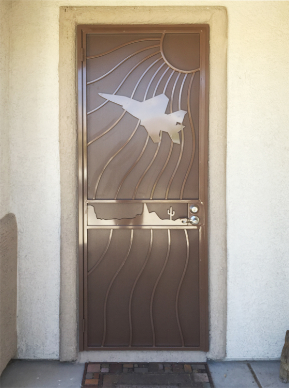 Nature Inspired Security Door - Item Desert Vista SD0221_Jet Wrought Iron Design In Las Vegas