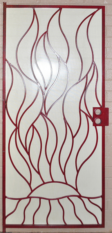 Nature Inspired Security Door - Item Flame SD0012RW_Red-White Wrought Iron Design In Las Vegas