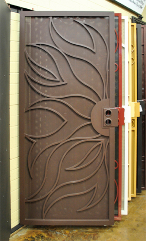 Nature Inspired Security Door - Item Flame SD0017_Brown Wrought Iron Design In Las Vegas
