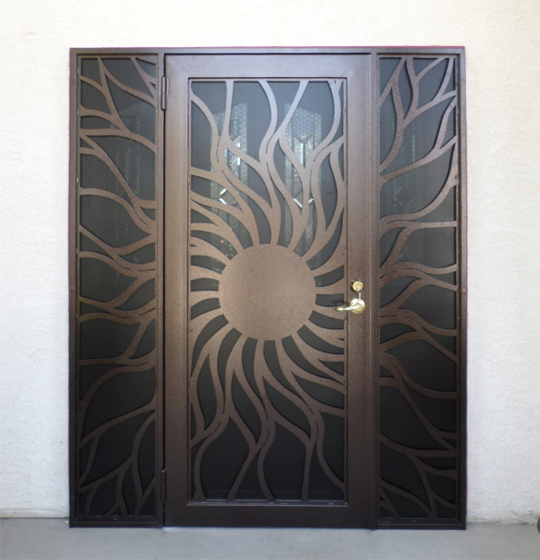 Nature Inspired Security Door - Item Flame SD0189 Wrought Iron Design In Las Vegas