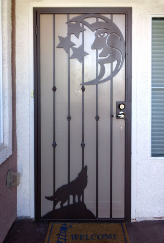 Nature Inspired Security Door - Item Howlin SD0169A Wrought Iron Design In Las Vegas