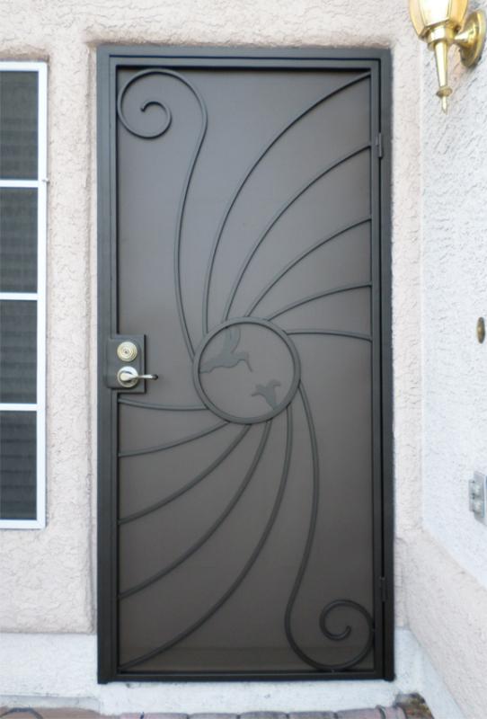 Nature Inspired Security Door - Item Hummingbird SD0095B_Black-Grey Wrought Iron Design In Las Vegas