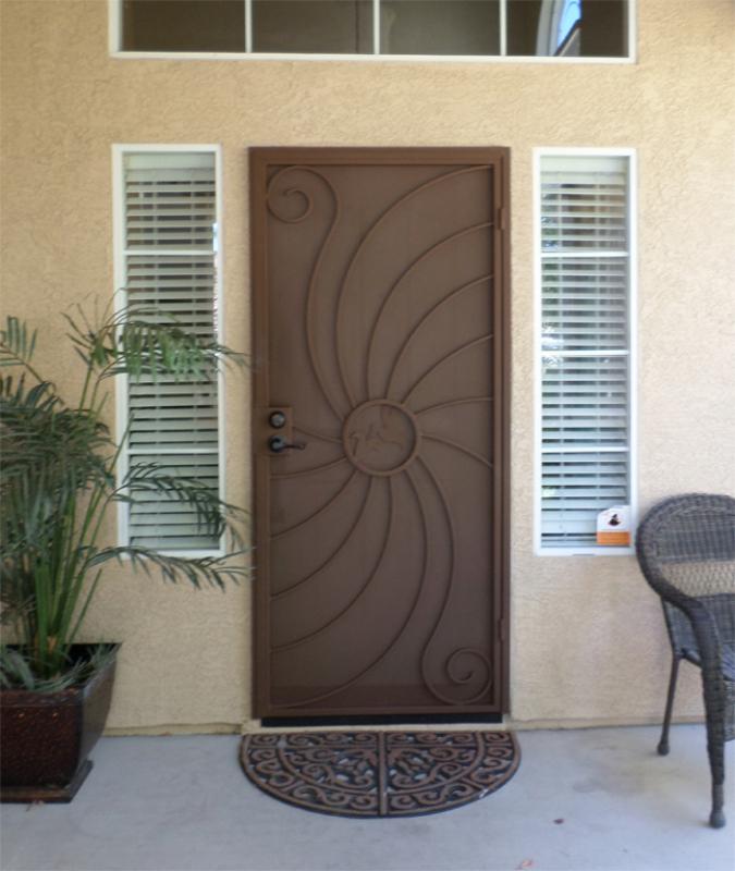 Nature Inspired Security Door - Item Hummingbird SD0095C_Brown Wrought Iron Design In Las Vegas