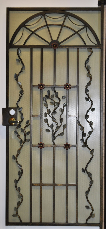 Nature Inspired Security Door - Item Monticello SD0011_White Wrought Iron Design In Las Vegas