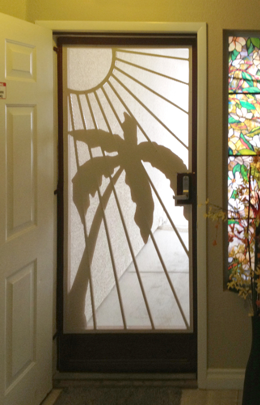 Nature Inspired Security Door - Item Sandy Beaches SD0196IV_Inside-View Wrought Iron Design In Las Vegas