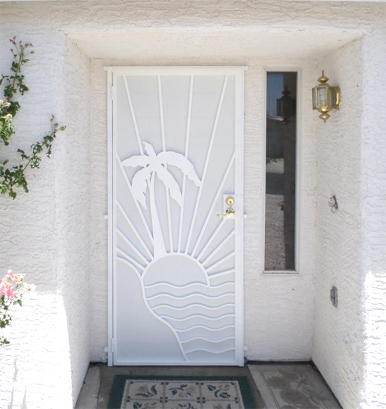Nature Inspired Security Door - Item Sandy Beaches SD0197W_White Wrought Iron Design In Las Vegas