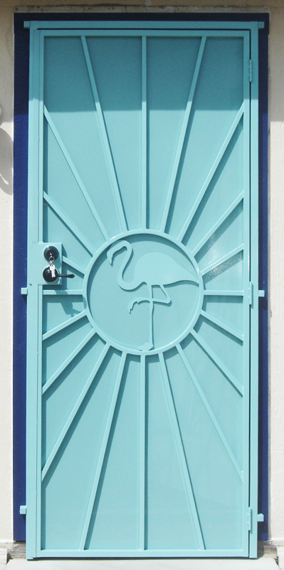 Nature Inspired Security Door - Item Sunburst SD0015A_Aqua Wrought Iron Design In Las Vegas