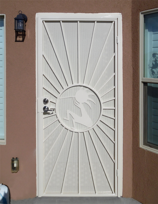 Nature Inspired Security Door - Item Sunburst SD0015WK_White-Koko Wrought Iron Design In Las Vegas