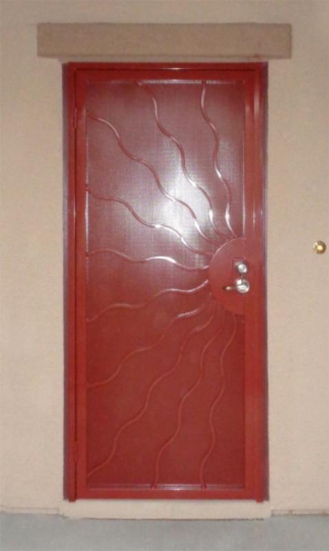Nature Inspired Security Door - Item Sunburst SD0288 Wrought Iron Design In Las Vegas