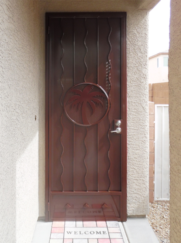 Nature Inspired Security Door - Item The Palms SD0171B Wrought Iron Design In Las Vegas
